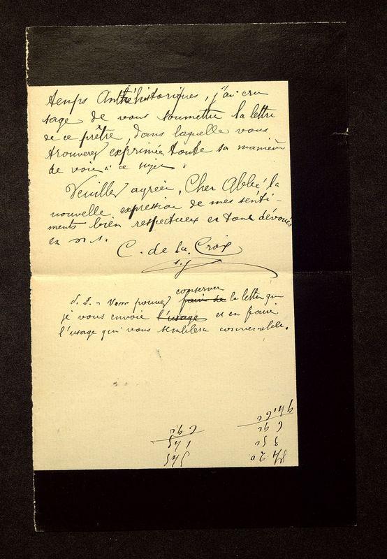 Visuel du media #12 - Lettre de De La Croix à Breuil du 03 octobre 1906, page 2