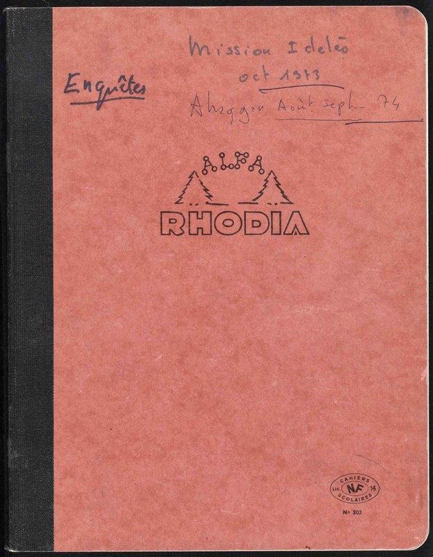 Visuel du document Mission à Idelès (octobre 1973) et Ahaggar (août-septembre 1974)