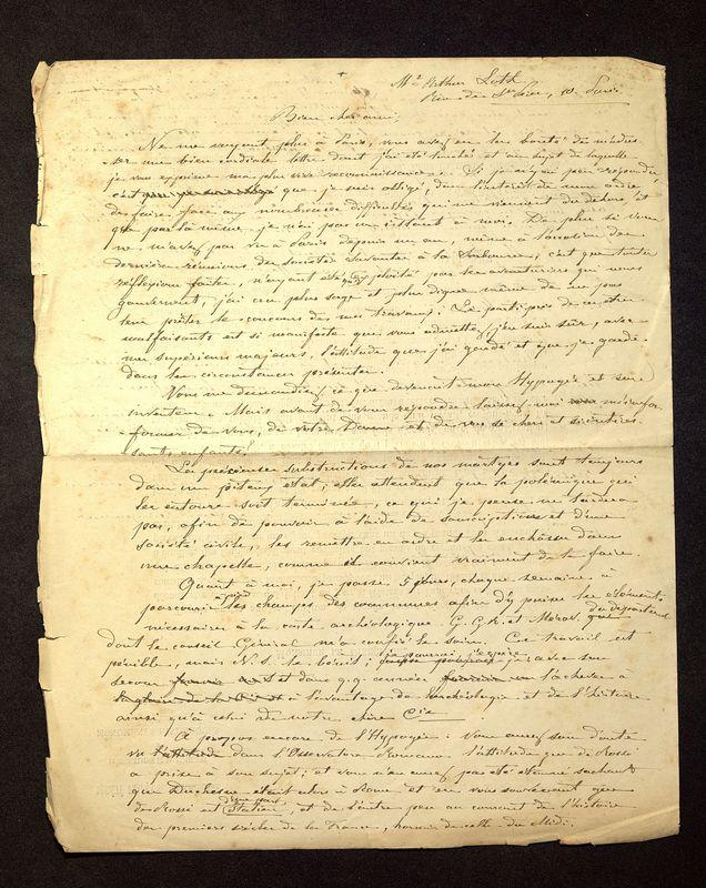 Visuel du media #6 - Lettre de De La Croix à Loth, page 1