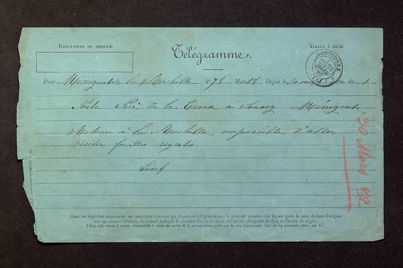 Visuel du media #1 - Télégramme de Lisch à De La Croix du 30 mars 1882