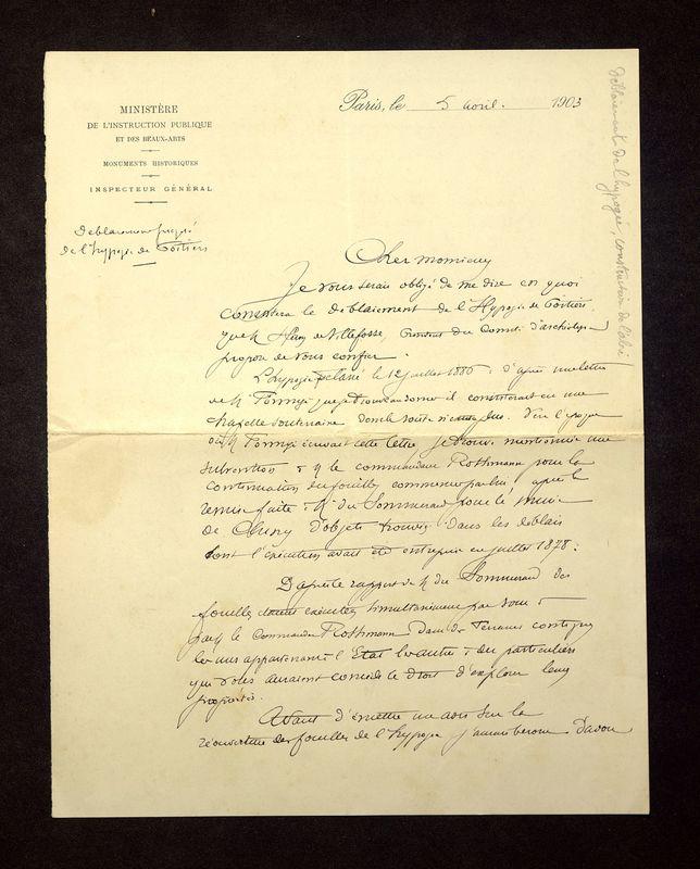Visuel du media #3 - Lettre de Magne à De La Croix du 05 avril 1903, page 1