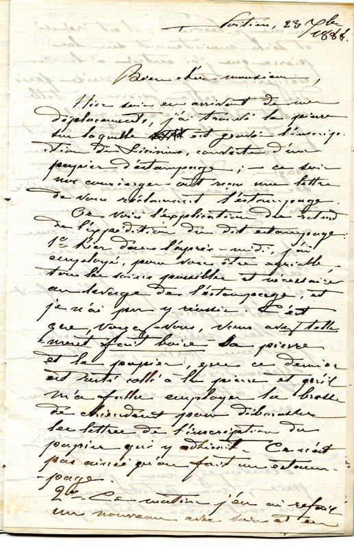 Visuel du media #12 - Lettre de De La Croix à Espérandieu du 23 septembre 1888, page 1