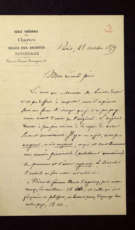 Visuel du media #11 - Lettre de Quicherat à De La Croix du 23 octobre 1879, page 1