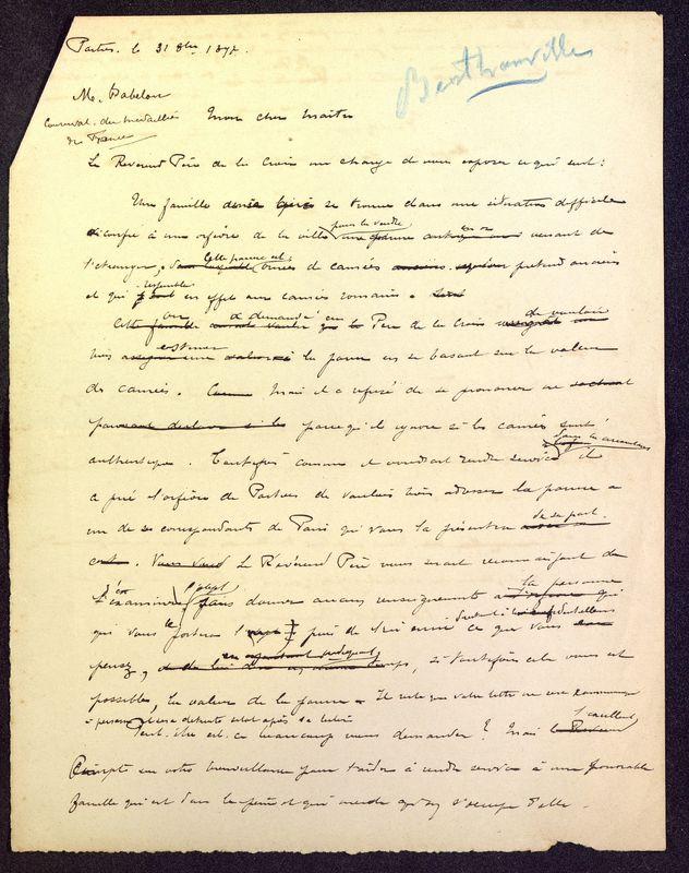 Visuel du media #7 - Brouillon de lettre de De La Croix à Babelon du 31 octobre 1897, page 1