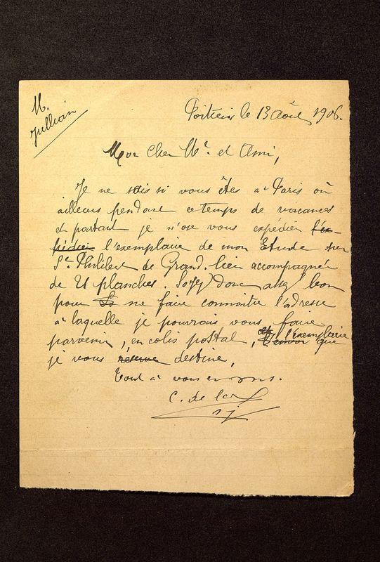 Visuel du media #9 - Lettre de De La Croix à Jullian du 13 août 1906, page 1