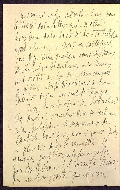 Visuel du media #8 - Lettre de Berthelé à De La Croix du 16 mai 1884, page 2
