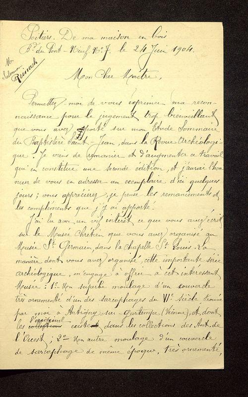 Visuel du media #9 - Lettre de De La Croix à Reinach du 24 juin 1904, page 1