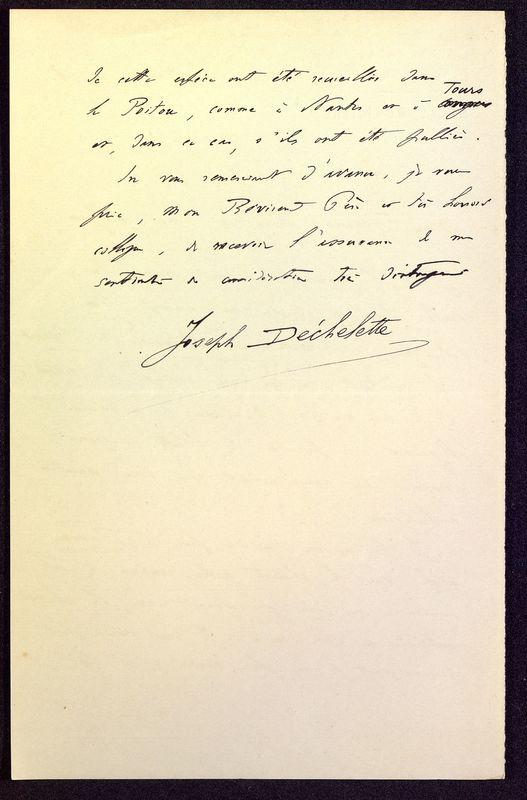 Visuel du media #2 - Lettre de Déchelette à De La Croix du 03 mars 1898, page 2