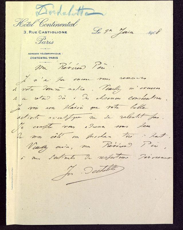 Visuel du media #8 - Lettre de Déchelette à De La Croix du 01 juin 1908