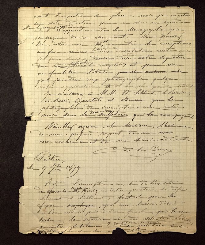 Visuel du media #7 - Lettre de De La Croix à Quicherat du 07 septembre 1879, page 2