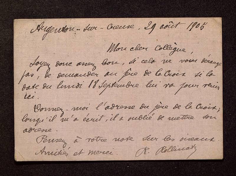 Visuel du media #5 - Lettre de Rollinat à De La Croix du 29 août 1905