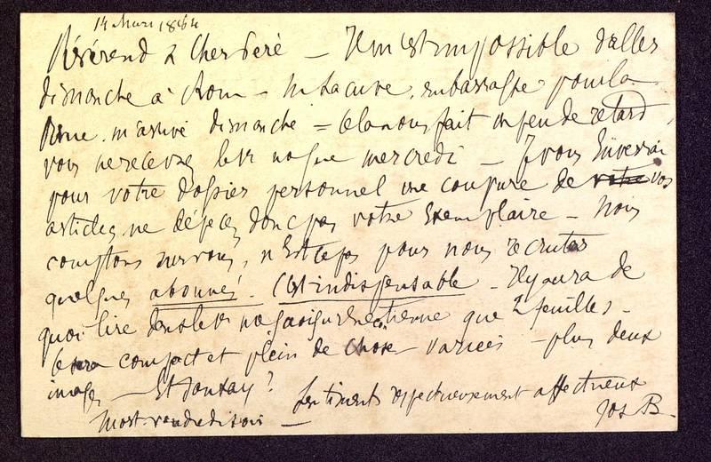Visuel du media #2 - Carte postale de Berthelé à De La Croix du 14 mars 1884, page 2