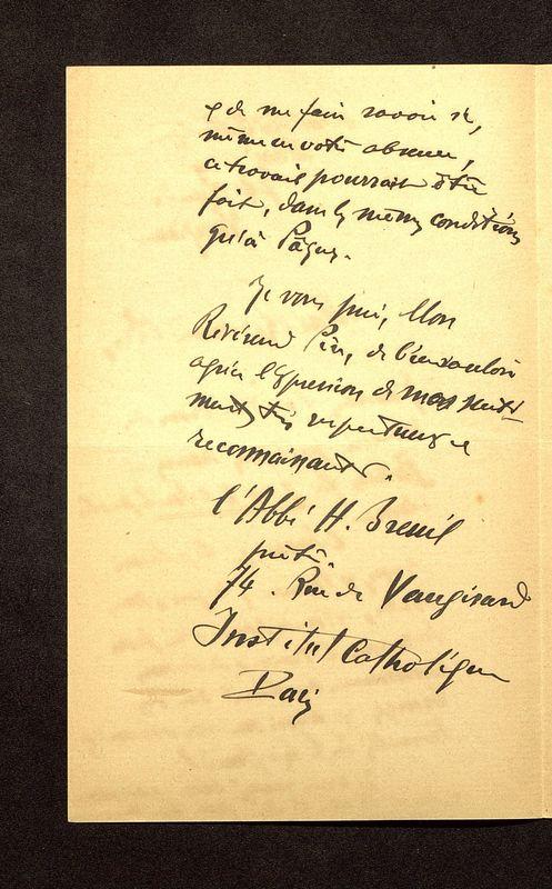 Visuel du media #4 - Lettre de Breuil à De La Croix du 30 juillet 1902, page 2