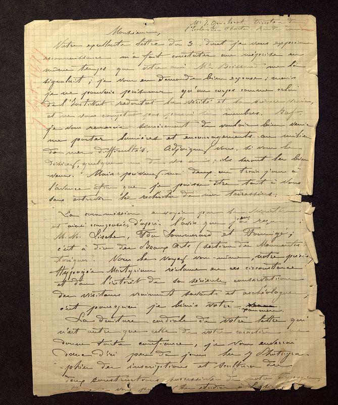 Visuel du media #6 - Lettre de De La Croix à Quicherat du 07 septembre 1879, page 1