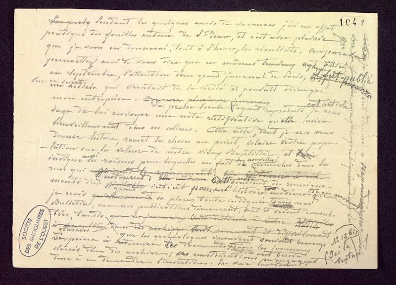 Visuel du media #9 - Manuscrit pour une communication, Baptistère Saint-Jean, page 1