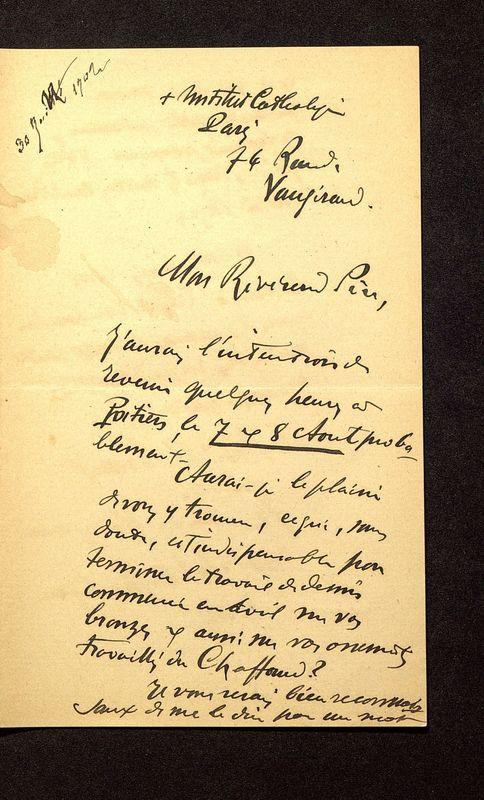 Visuel du media #3 - Lettre de Breuil à De La Croix du 30 juillet 1902, page 1
