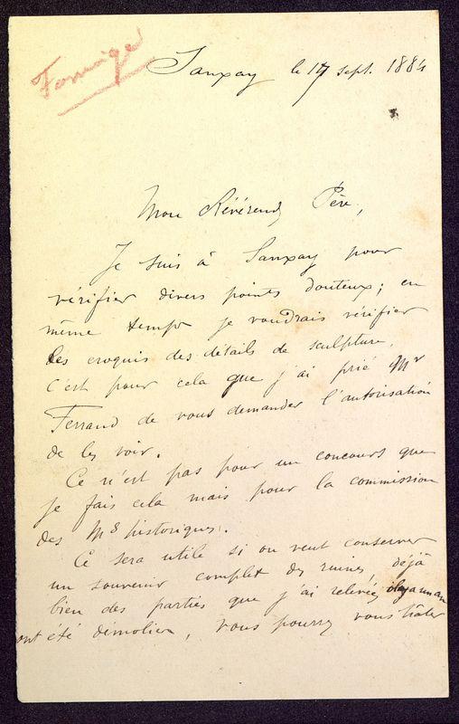 Visuel du media #5 - Lettre de Formigé à De La Croix du 17 septembre 1884, page 1