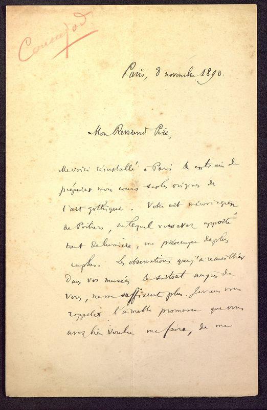 Visuel du media #1 - Lettre de Courajod à De La Croix du 08 novembre 1890, page 1