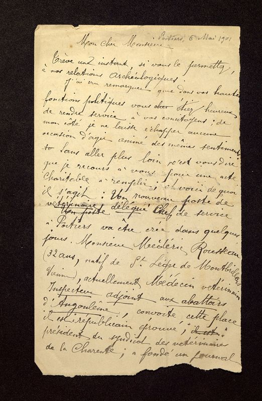 Visuel du media #12 - Lettre de De La Croix à Laporte-Bisquit du 06 mai 1901, page 1