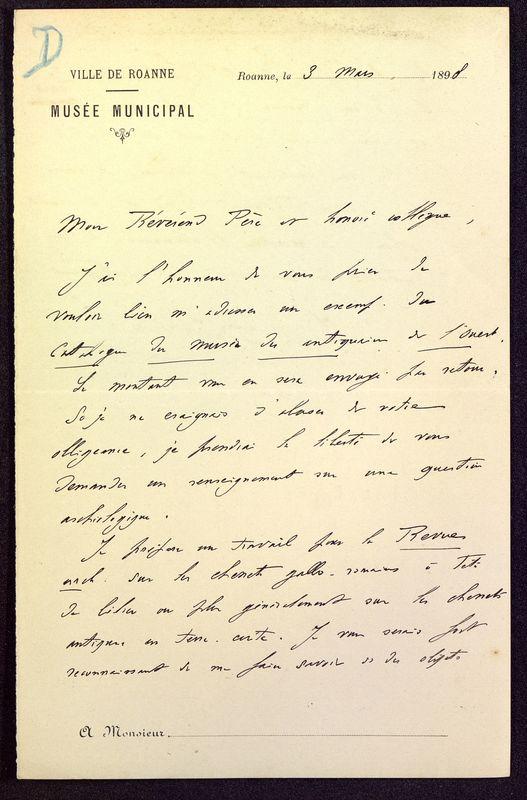 Visuel du media #1 - Lettre de Déchelette à De La Croix du 03 mars 1898, page 1