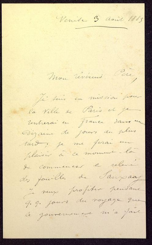 Visuel du media #1 - Lettre de Formigé à De La Croix du 03 avril 1883, page 1