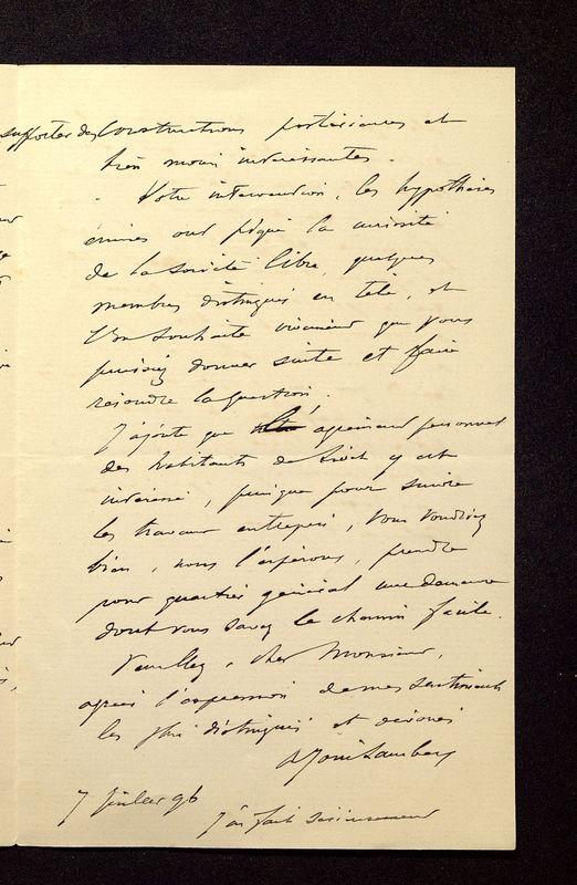 Visuel du media #3 - Lettre de Join-Lambert à De La Croix du 07 juillet 1896, page 3