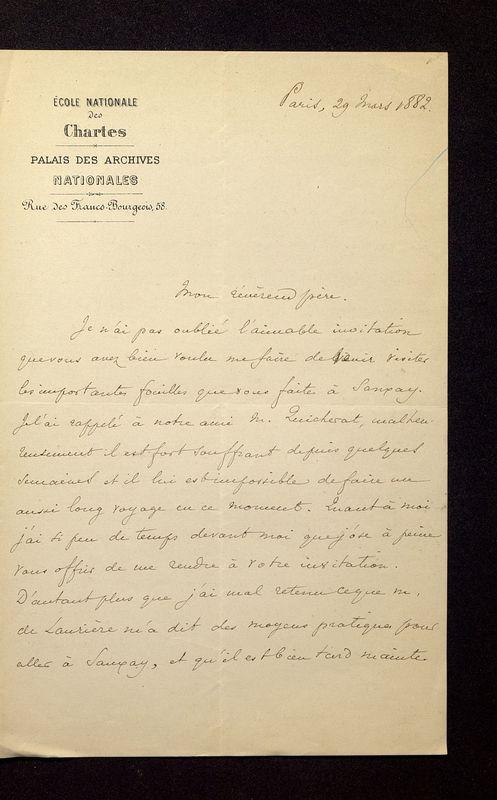 Visuel du media #2 - Lettre de Lasteyrie Du Saillant à De La Croix du 29 mars 1882, page 1