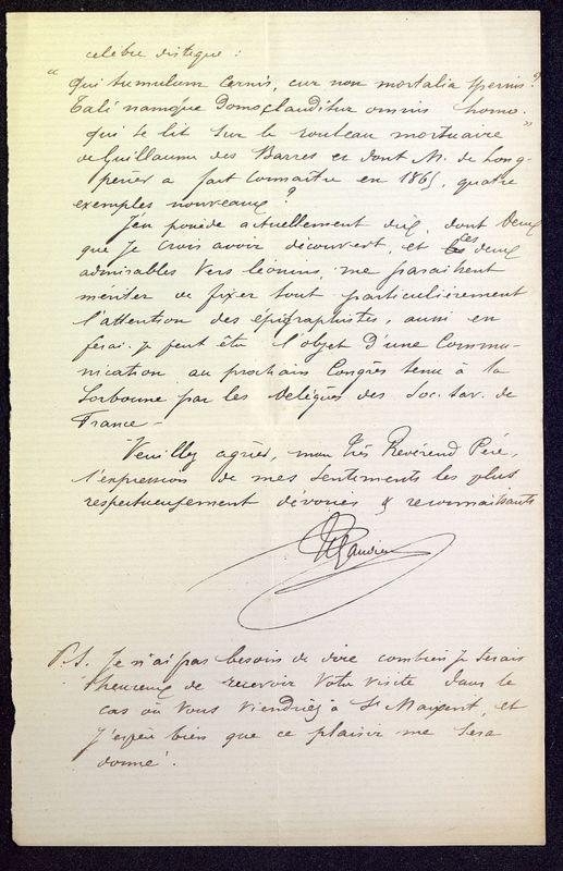 Visuel du media #12 - Lettre de Espérandieu à De La Croix de 1886, page 5
