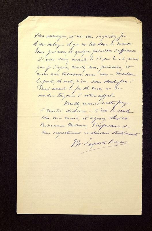 Visuel du media #10 - Lettre de Laporte-Bisquit à De La Croix du 05 mai 1901, page 2