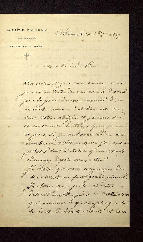 Visuel du document Correspondance, Jacques-Gabriel Bulliot à Camille De la Croix (1879-1881)
