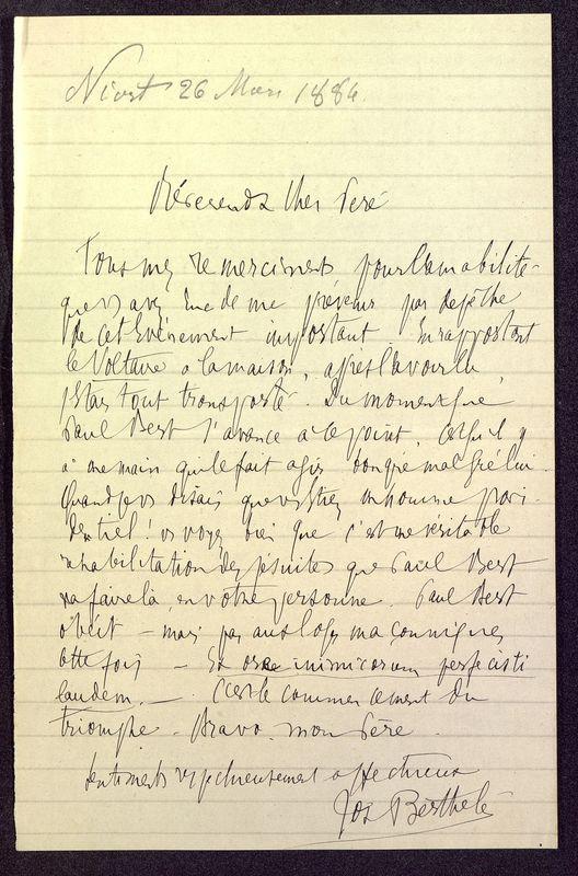 Visuel du media #5 - Lettre de Berthelé à De La Croix du 26 mars 1884