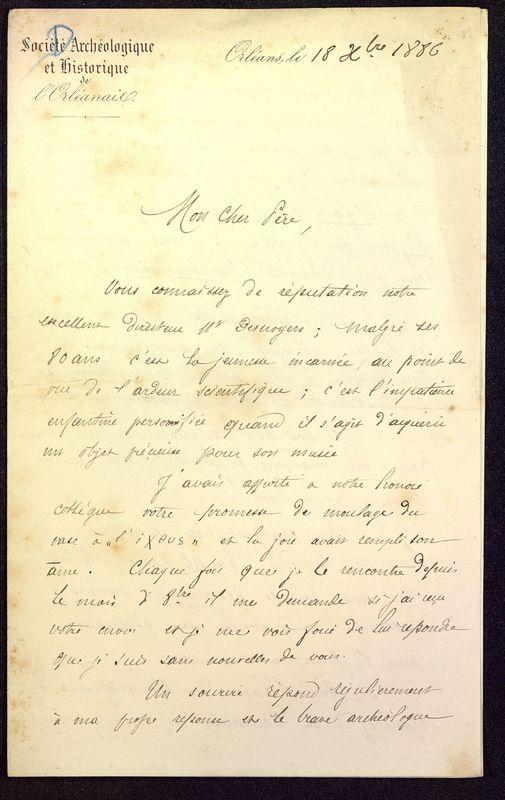 Visuel du media #9 - Lettre de Dumuÿs à De La Croix du 18 décembre 1886, page 1
