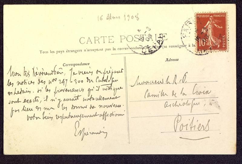 Visuel du media #1 - Carte postale de Espérandieu à De La Croix du 16 mars 1908