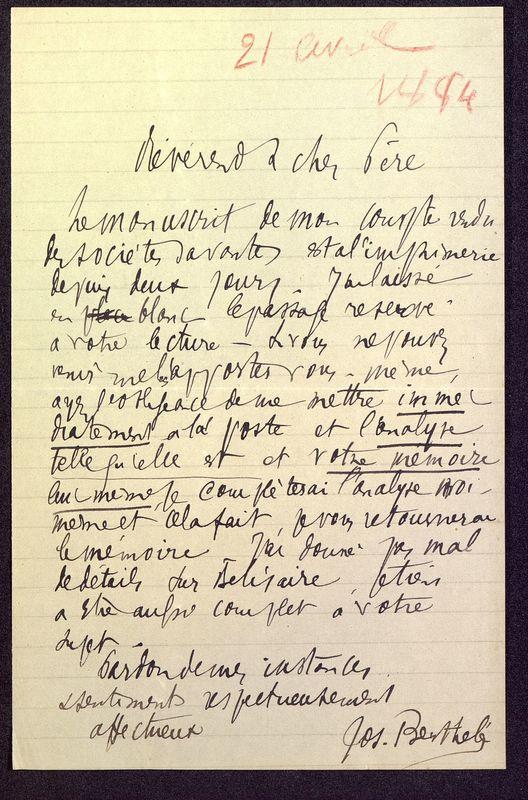 Visuel du media #6 - Lettre de Berthelé à De La Croix du 21 avril 1884