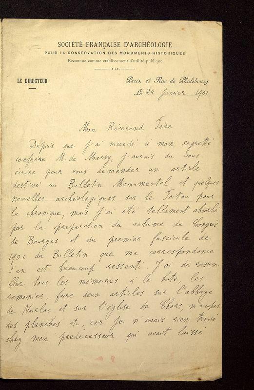 Visuel du media #4 - Lettre de Lefèvre-Pontalis à De La Croix du 24 janvier 1901, page 1