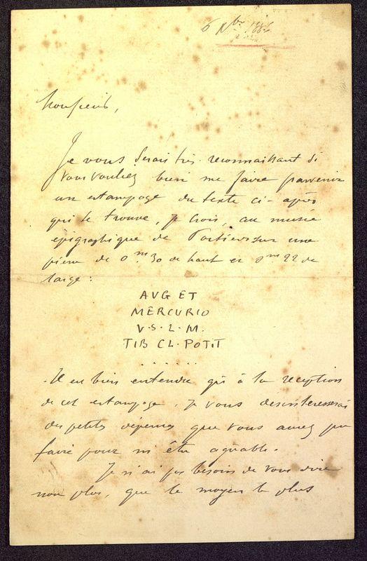 Visuel du media #5 - Lettre de Espérandieu à De La Croix, page 1