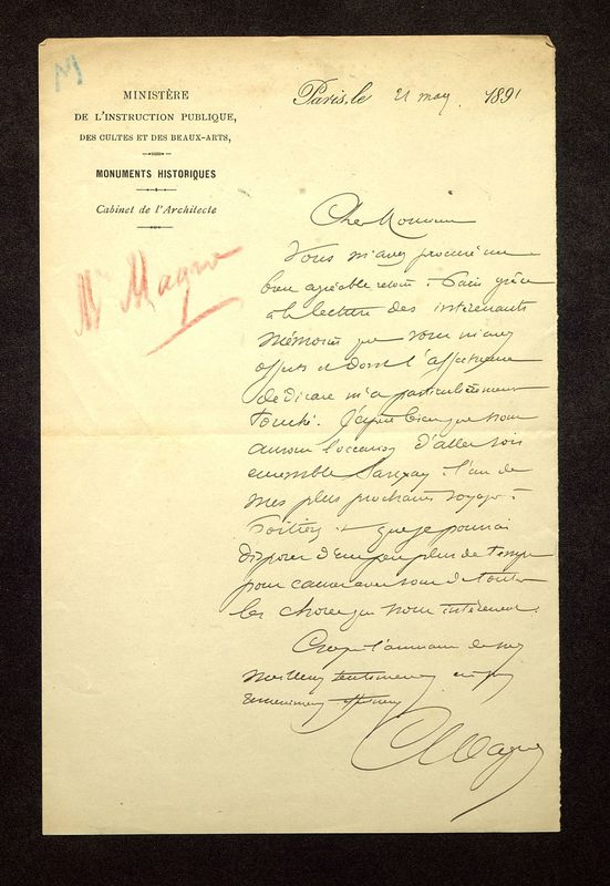 Visuel du media #1 - Lettre de Magne à De La Croix du 21 mai 1891