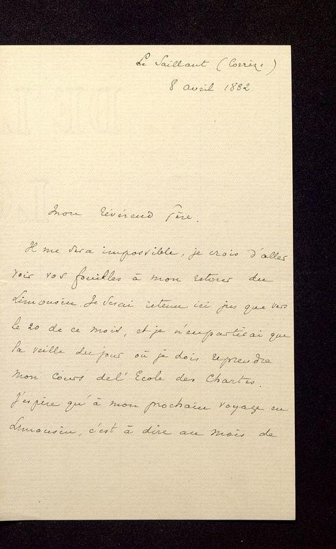 Visuel du media #6 - Lettre de Lasteyrie Du Saillant à De La Croix du 08 avril 1882, page 1