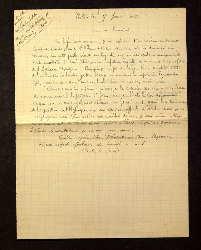 Visuel du media #10 - Lettre de De La Croix à Lefèvre-Pontalis du 15 janvier 1903