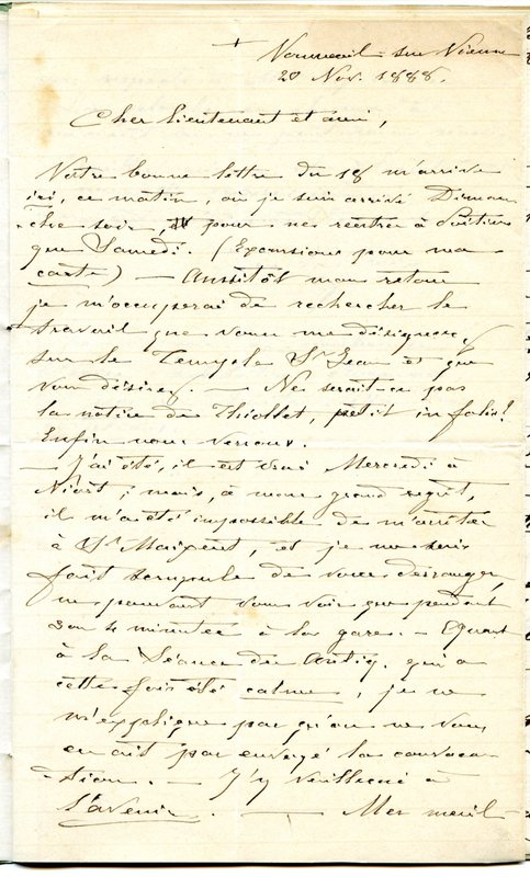 Visuel du media #10 - Lettre de De La Croix à Espérandieu du 20 novembre 1888, page 1