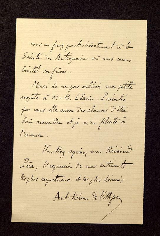 Visuel du media #2 - Lettre de Héron de Villefosse à De La Croix du 06 mai 1881, page 2
