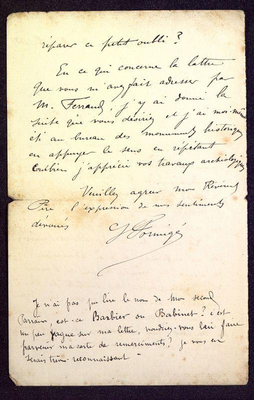 Visuel du media #8 - Lettre de Formigé à De La Croix du 01 décembre 1885, page 2