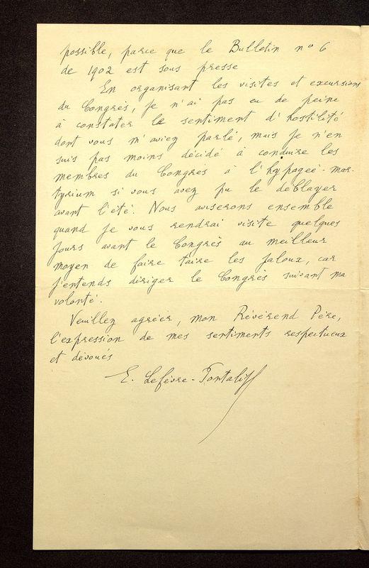 Visuel du media #7 - Lettre de Lefèvre-Pontalis à De La Croix du 26 décembre 1902, page 2