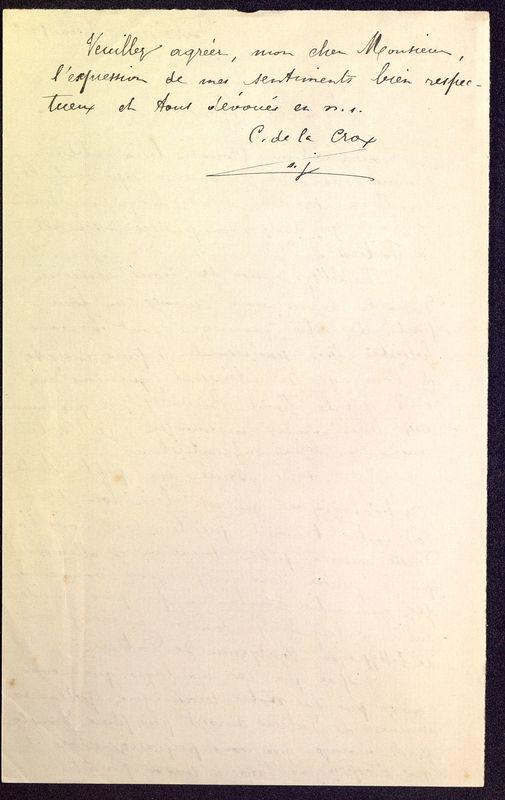 Visuel du media #10 - Brouillon de lettre de De La Croix à Déchelette du 06 juin 1906, page 2