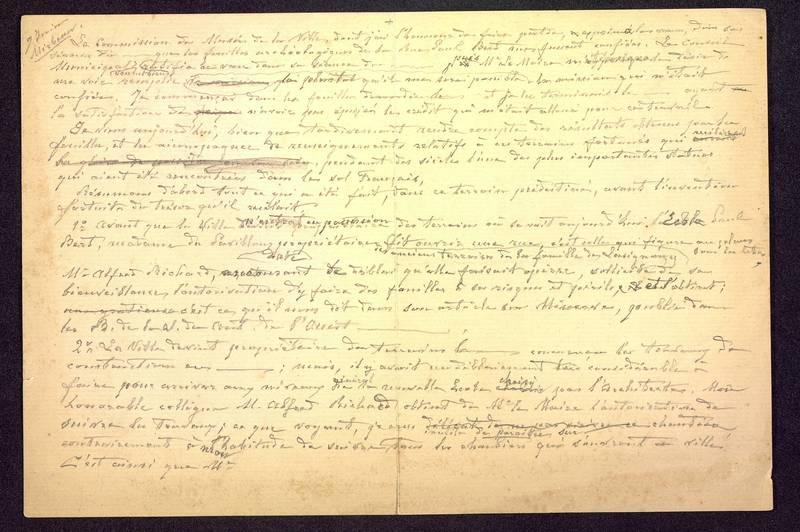 Visuel du document Notes manuscrites sur les découvertes de la rue Paul Bert à Poitiers