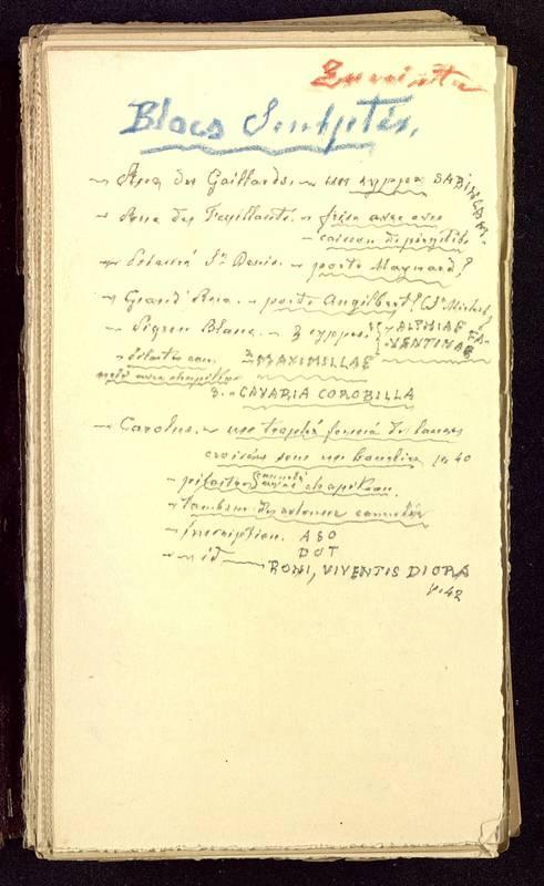 Visuel du media #1 - Fichier de notes sur les rues de Poitiers, page 1