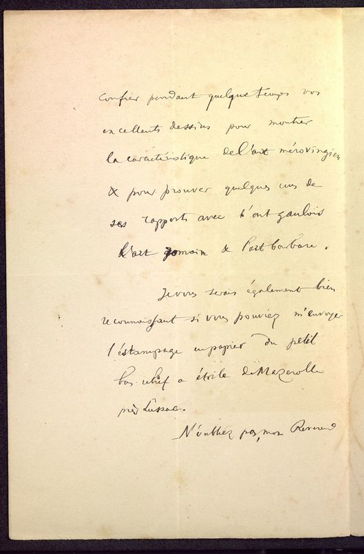Visuel du media #2 - Lettre de Courajod à De La Croix du 08 novembre 1890, page 2