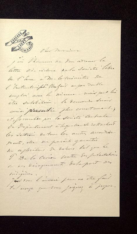 Visuel du media #12 - Lettre de Join-Lambert à De La Croix du 04 août 1896, page 1