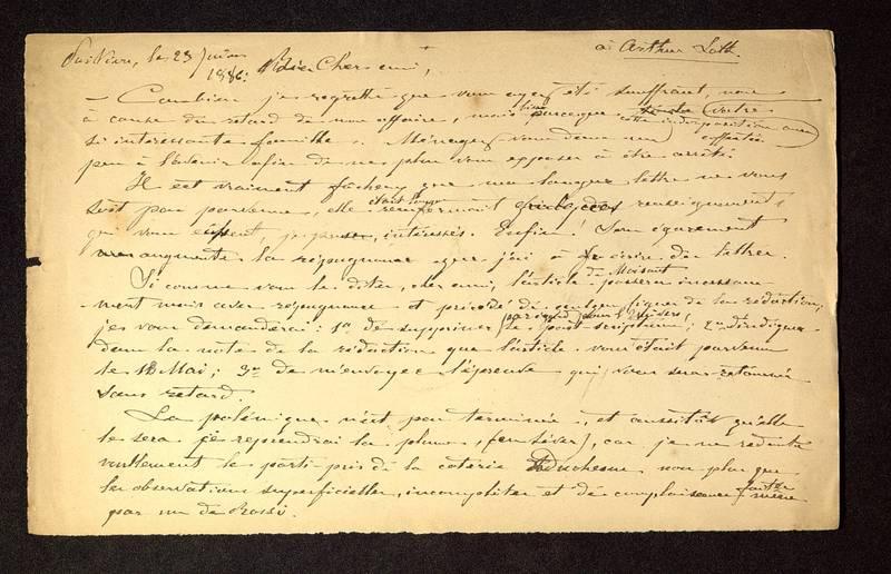Visuel du media #12 - Lettre de De La Croix à Loth du 23 février 1886, page 1