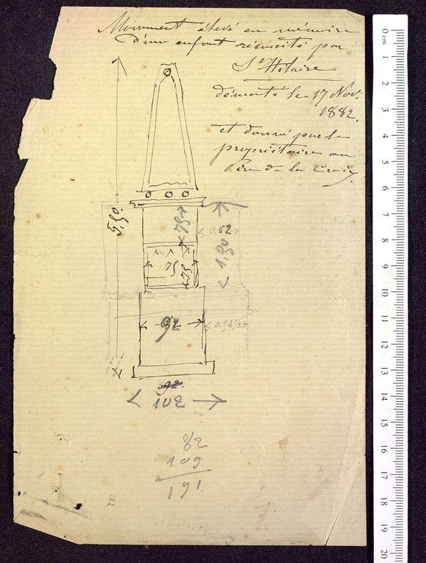 Visuel du media #1 - Notes et calculs, Pyramide de Saint-Hilaire, page 1